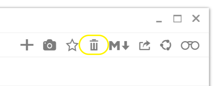 glimpses delete entry button