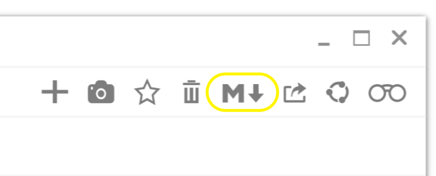 glimpses markdown preview button